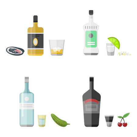rum: Alcohol drinks beverages cocktail appetizer bottle lager refreshment container and menu snacks drunk concept different glasses vector illustration. Restaurant tequila rum party pub cognac.