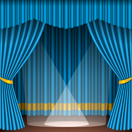 Theater stage with blue curtains and spotlights theatrical scene in light searchlights interior old opera performance background vector illustration. Classical theatre entertainment stage. Stock Vector - 87472356