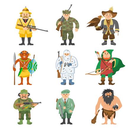 Jagers vector illustratie cartoon stijl verschillende versnelling huntsman tekens gericht man munitie wapen mensen.
