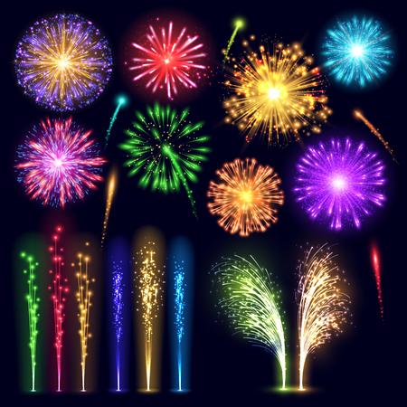 Firework realistic style celebration holiday event night explosion light festive party vector illustration lights
