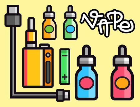 device: Vape device vector set cigarette vaporizer vapor juice bottle flavor illustration battery coil.
