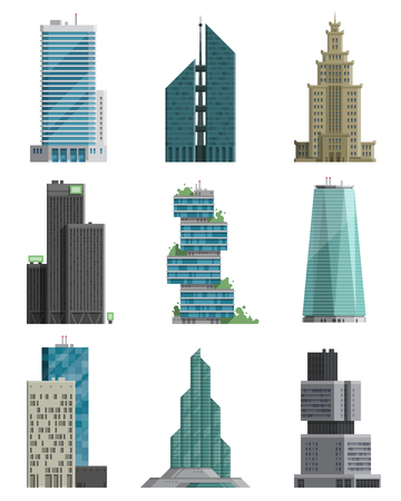 reflection: Skyscraper high building tower city architecture business center vector illustration. Modern cityscape construction exterior urban downtown design.