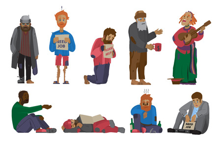 Homeless people characters cadger set unemployment men need help bums and hobos verdwaalde vector illustrations.