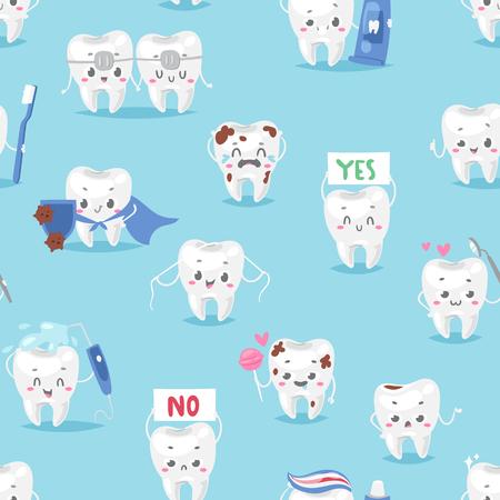 歯キャラクター人物歯科医院マスコット歯ブラシのシームレスなパターン背景ベクトル イラスト