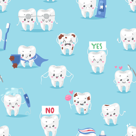 Tooth character personage dental clinic mascot with a toothbrush seamless pattern background vector illustration