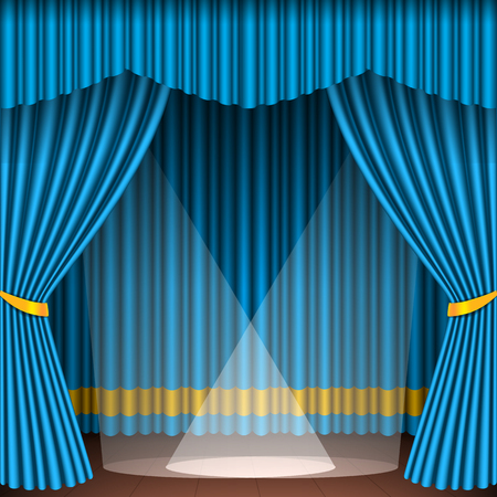 Theater stage with blue curtains entertainment spotlights theatrical scene interior old opera performance background vector illustration.