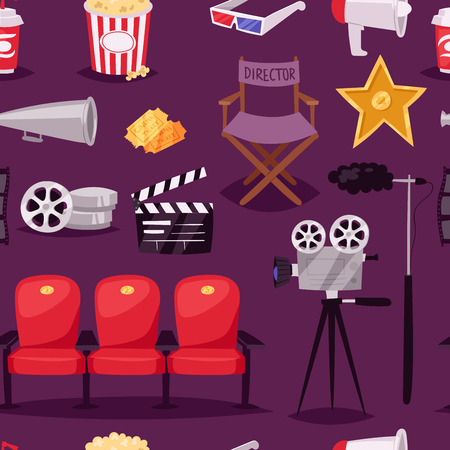 camera film: Cinema movie making TV show equipment tools symbols icons vector set illustration. Isolated entertainment design camera sign. Director cinematography hollywood seamless pattern background