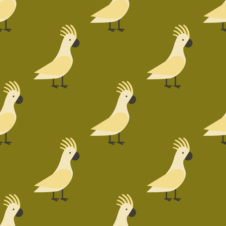 floral: A Seamless pattern of gold parrot vector illustration wild animal characters cute fauna tropical feather pets background. Illustration
