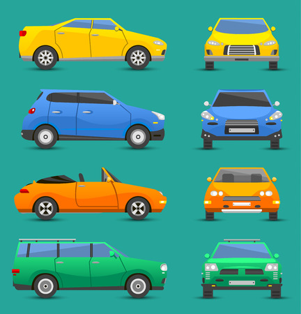 heavy industry: Different cars transport vector set.