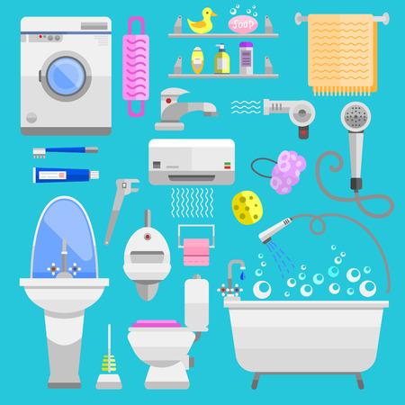 dryer: Bathroom icons symbols vector illustration.