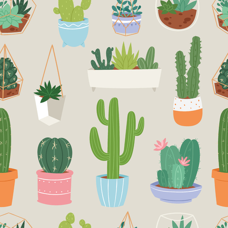 floral: Cactus and succulent flower green home plant seamless pattern floral illustration.