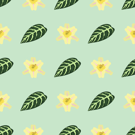 floral: Tropical leaves summer green exotic seamless pattern jungle palm leaf nature plant botanical hawaii flora vector illustration.