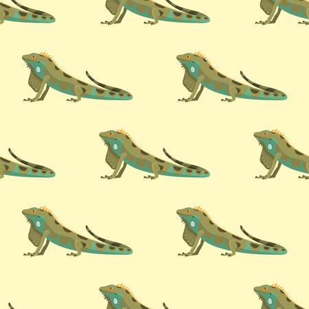 Reptile chameleon amphibian seamless pattern colorful fauna vector illustration reptiloid predator reptiles animals.
