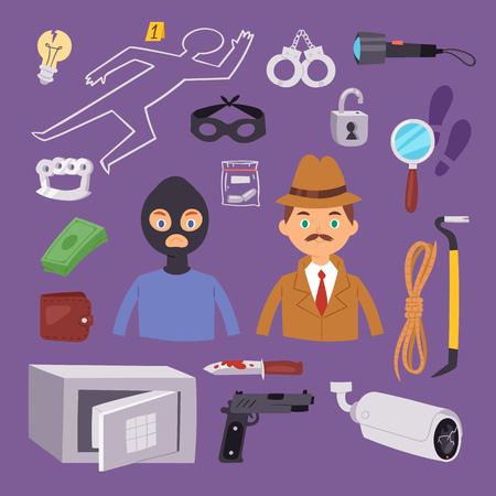 Criminal thief cartoon detective character design with equipment investigator police man design vector illustration. Illustration
