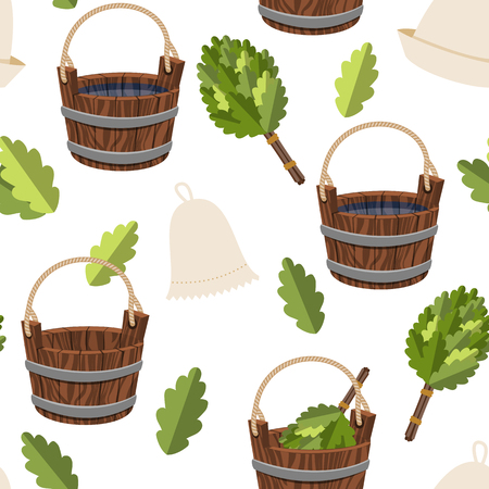 A Seamless pattern public baths wood bucket spa sauna accessories background vector colorful illustration relaxation hygiene products