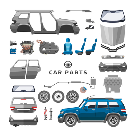 Car service parts flat auto mechanic repair of machines and equipment vector illustration Ilustração