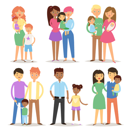 Happy different family couples characters mother father baby multinational people together vector illustration. Illustration