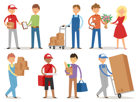 Delivery boy service workers couriers delivering man characters shop mailmen bringing packages holding boxes documents vector illustration.