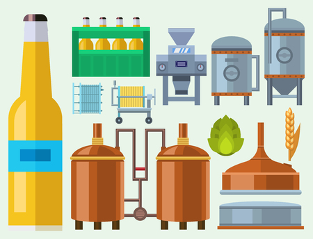 Beer brewing process production equipment Illustration