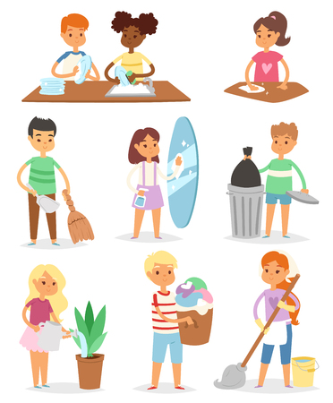Kids cleaning rooms and helping their mums in household work vector illustration set Vectores
