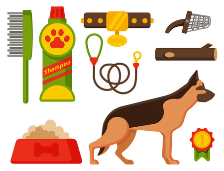 Vector illustration funny thoroughbred german shepherd dog nature attentive happy pet. Domestic mammal food and accessory. Illustration