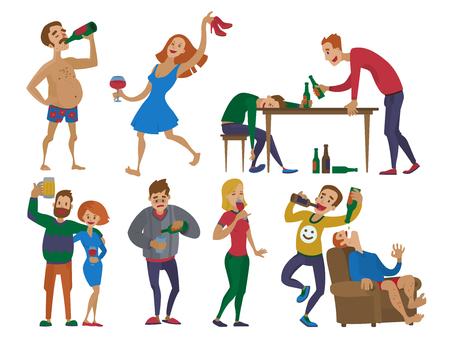 Les gens de dessin animé ivre alcoolique homme et femme alcoolisme ivre caractères ivre caractères vector illustration. Vecteurs