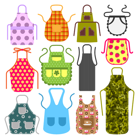 Food cooking apron kitchen design clothes housewife uniform chef cook protective textile cotton apparel vector illustration