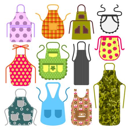 Lebensmittel Kochen Schürze Küche Design Kleidung Hausfrau Uniform Küchenchef schützende Textil Baumwolle Bekleidung Vektor-Illustration
