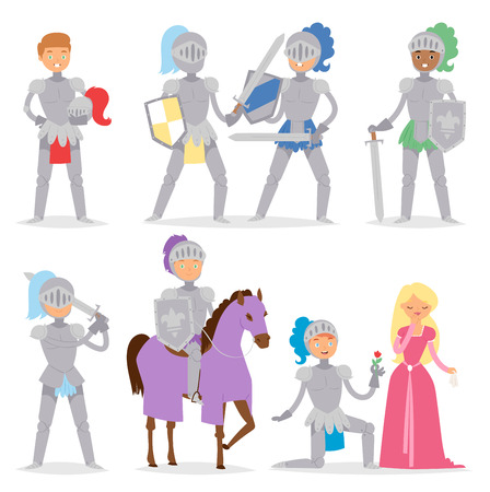 Knight cartoon hero character with horse and princess armor warrior people brave medieval costume soldier vector illustration.