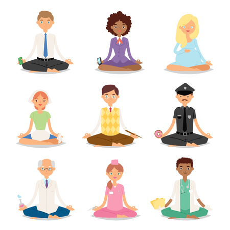 Meditation yoga people relaxation procedure different professions healthy lifestyle characters vector illustration.