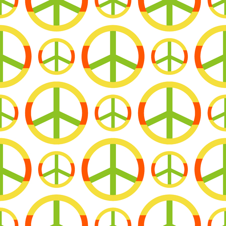Vector peace symbol made of hippie theme pacifism sign style seamless pattern ornamental background.