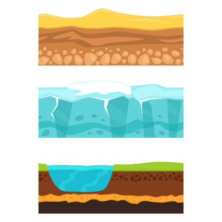 Illustration of cross section of ground agriculture country gardening ground slices land piece nature cross outdoor. Meadow ecology underground vector.