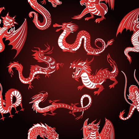 Chinese asia red dragon animal silhouettes on white background vector seamless pattern background