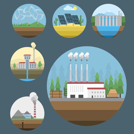 Generation energy types power plant icons vector renewable alternative solar wave illustration