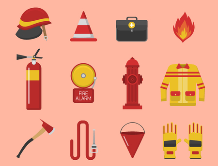 Fire safety equipment emergency tools firefighter safe danger accident protection vector illustration. Çizim