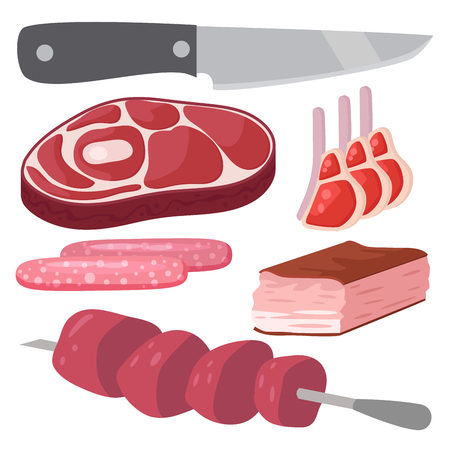 meat grinder: Meat products set of cartoon delicious barbecue kebab variety delicious gourmet meal and animal assortment slice lamb cooked vector illustration.