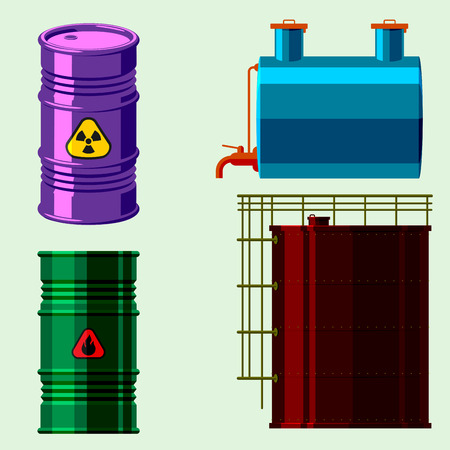 bowels: Stack different oil drums fuel container liquid cask storage object. Rows of steel barrels capacity tanks.