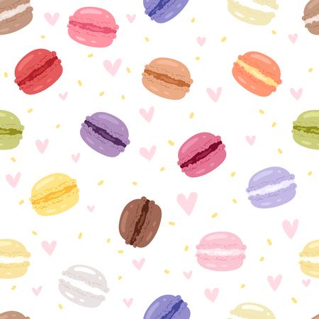 Ensemble de savoureux gâteau dans différentes couleurs macarons sucrés avec fruit vector illustration sans soudure de fond Vecteurs