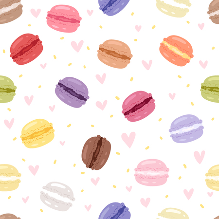macaron: Set of tasty cake in different colors sweet macaroons with fruit vector illustration seamless pattern background