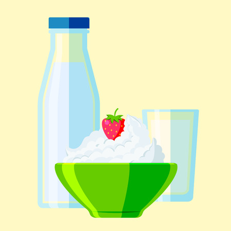 Organic drink bottle and healthy cream milk products vector set.