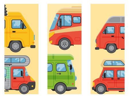 Campers vacation travel car summer brochure nature holiday trailer house vector illustration flat transport. Classic caravan campsite automobile retro minivan camp vintage bus.