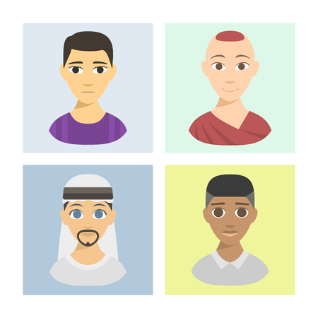 affiliation: Set of cool avatars brochure different nations people ethnicity portraits. Different skin tones, clothes and hair styles. Modern and simple flat cartoon style male female design set.