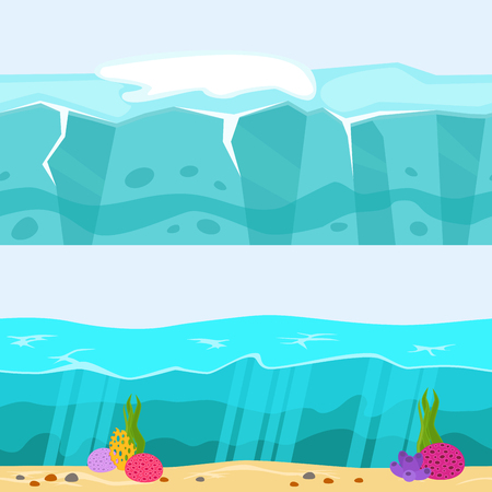 Cross section of sea water ecology natural geologist underwater background landscape river vector illustration.