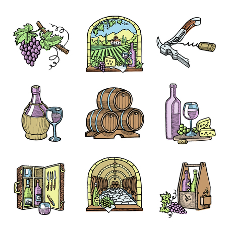 Wine production cellar winery viticulture winey product alcohol farm grape vintage hand drawn vector illustration.
