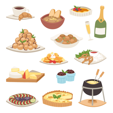 French cuisine traditional food delicious meal healthy dinner lunch continental Frenchman gourmet plate dish vector illustration. Diet rustic restaurant fried tasty cooked breakfast. Illustration