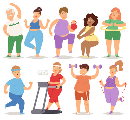 Fat people doing exercise training gym gymnasium sport fatty character workout vector illustration. Diet figure obesity man and woman thick heavy activity. Stock Illustratie