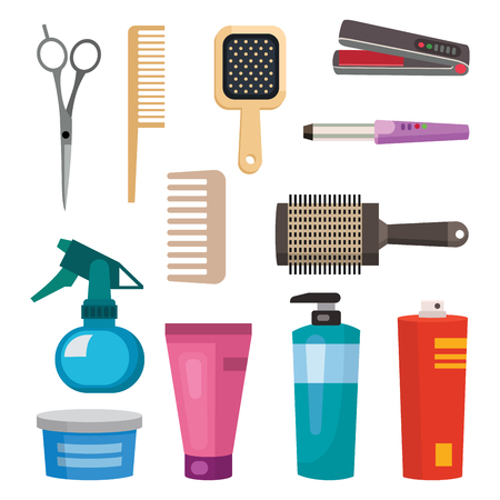 curler: Fashion hairdresser with hair clipper and hairbrush isolated professional stylish barber tools for cutting vector illustration. Illustration
