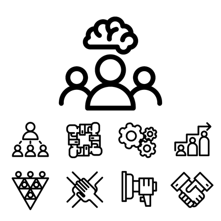 Vector illustration business team building people concept teambuilding work management outline trainings icons.