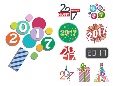 Happy new year 2017 text design vector creative graphic celebration greeting party date illustration Illustration