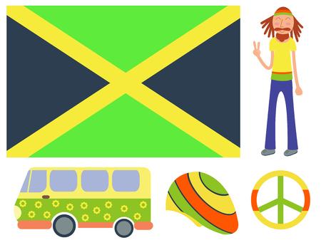 rasta hat: Rastafarian peace ganja icons set in flat style equipment vector illustration Illustration